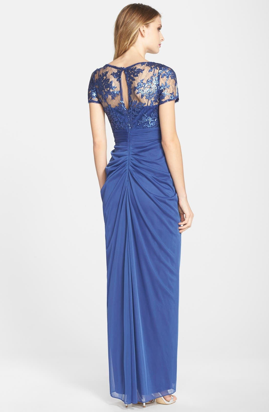 Alternate Image 2  - Adrianna Papell Sequin Lace Bodice Drape Tulle Column Gown (Regular & Petite)