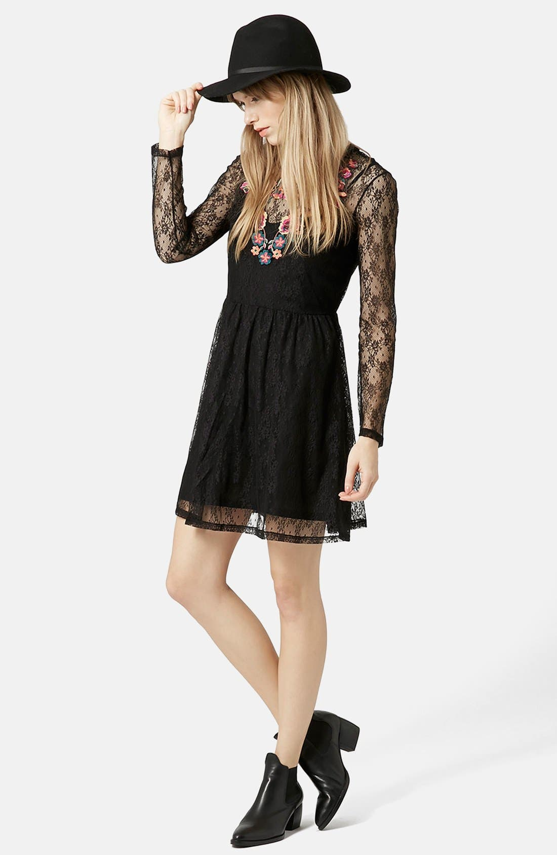 Alternate Image 1 Selected - Topshop Embroidered Flippy Dress