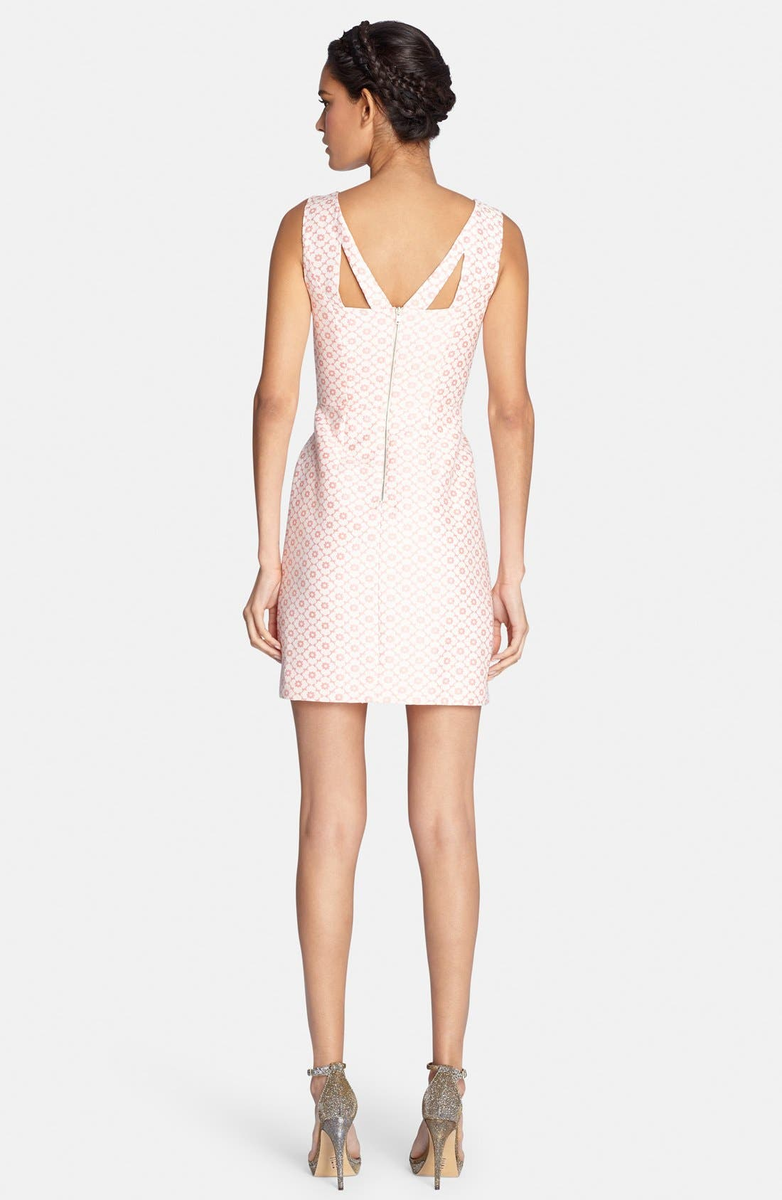 Alternate Image 2  - Tahari Back Cutout Jacquard Sheath Dress