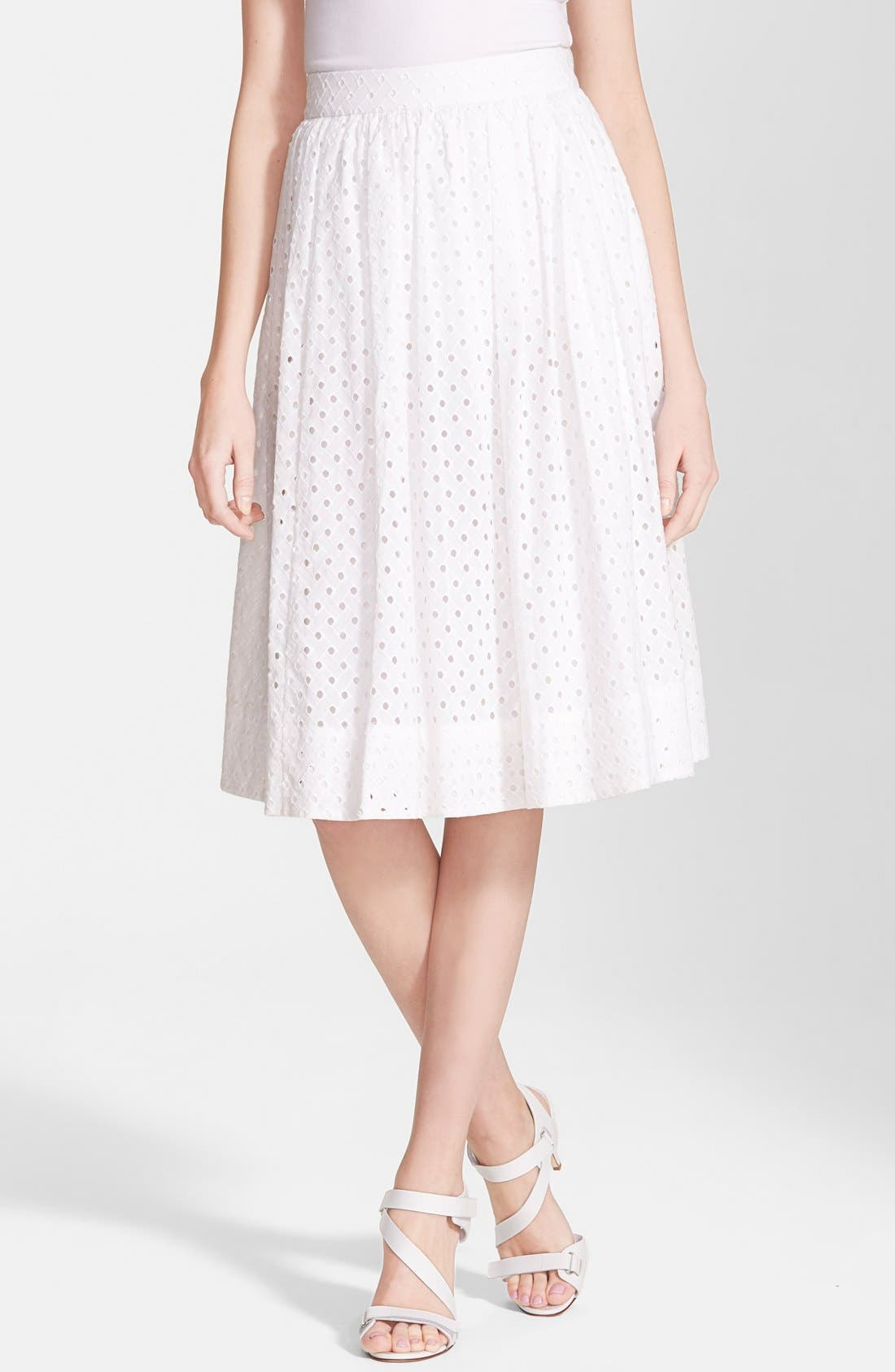 Main Image - kate spade new york pleated eyelet a-line skirt