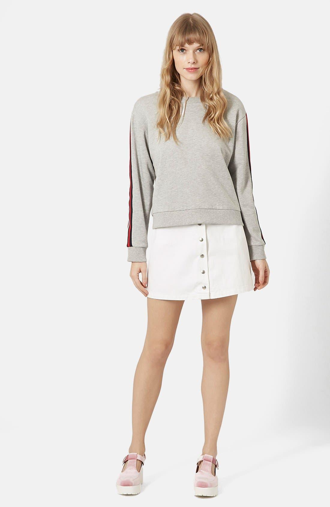 Alternate Image 3  - Topshop 'Popper' Denim Miniskirt (Brit Pop-In)