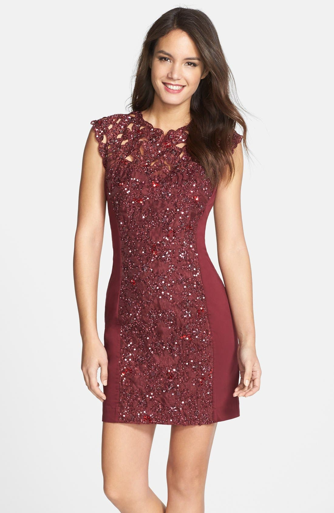Alternate Image 1 Selected - French Connection Embellished Lace Sheath Dress