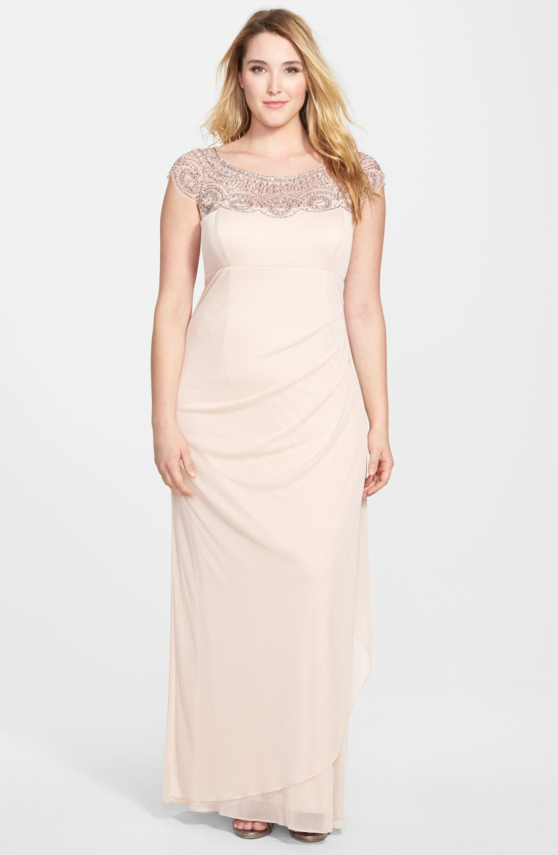 Alternate Image 1 Selected - Xscape Beaded Yoke Mesh Gown (Plus Size)