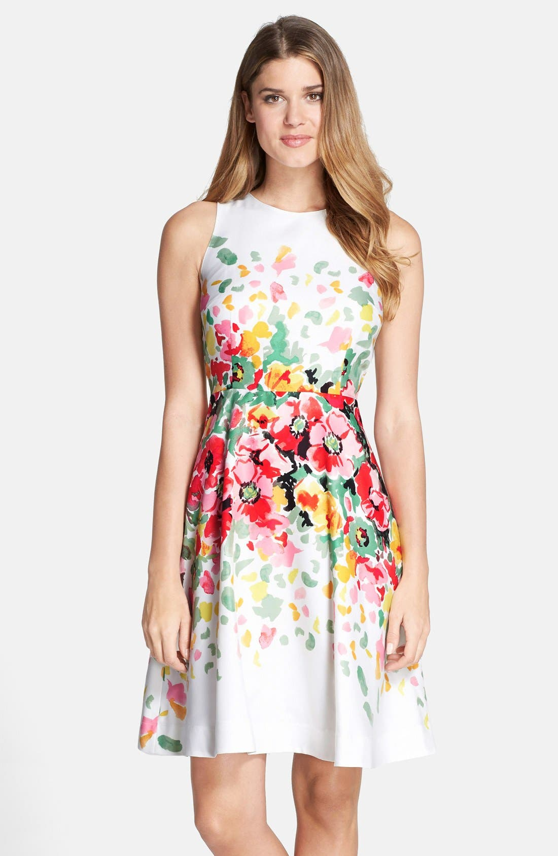 Main Image - Donna Morgan Floral Print Twill Fit & Flare Dress