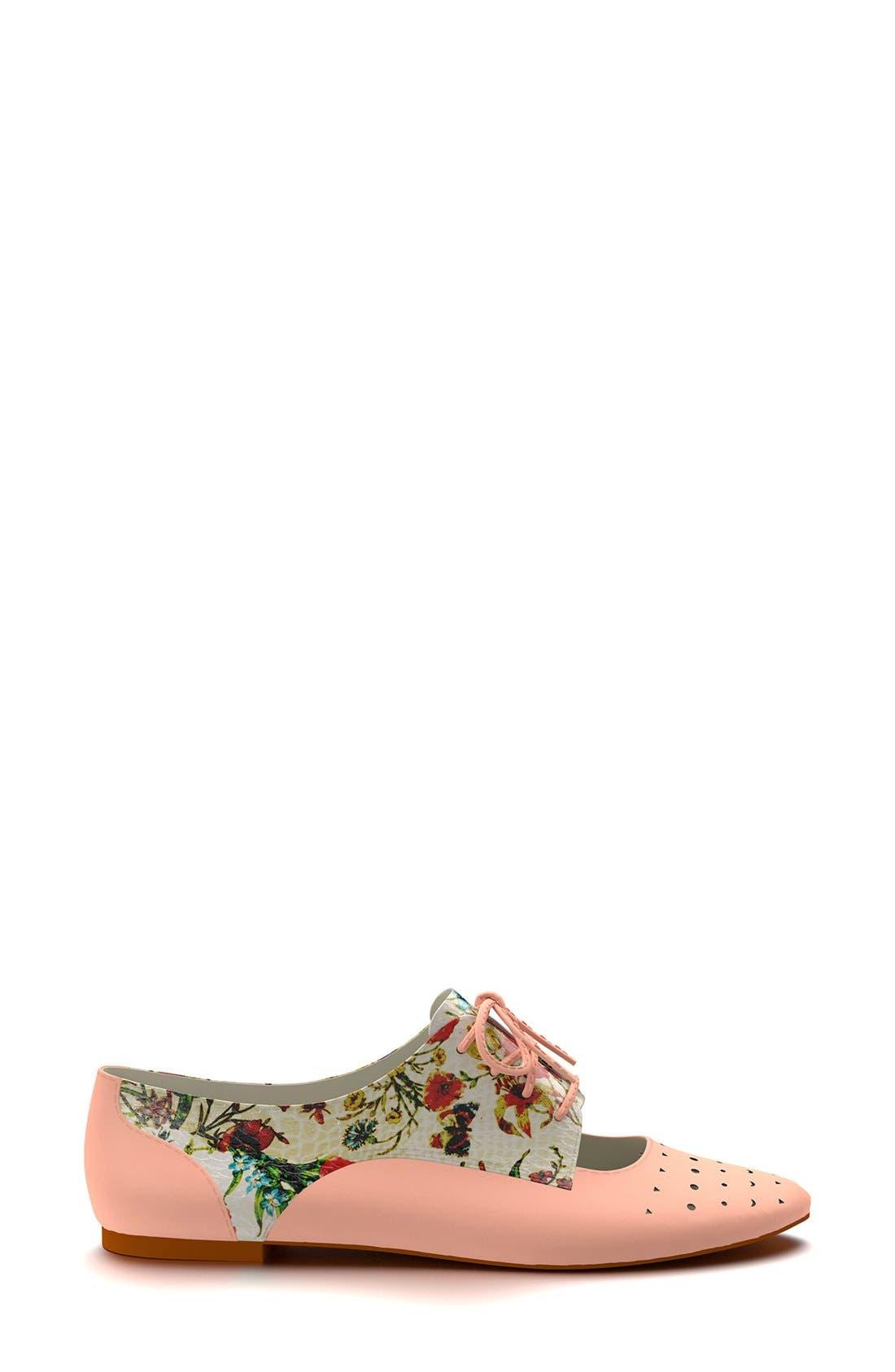 Alternate Image 3  - Shoes of Prey Floral Print Cutout Oxford (Women)