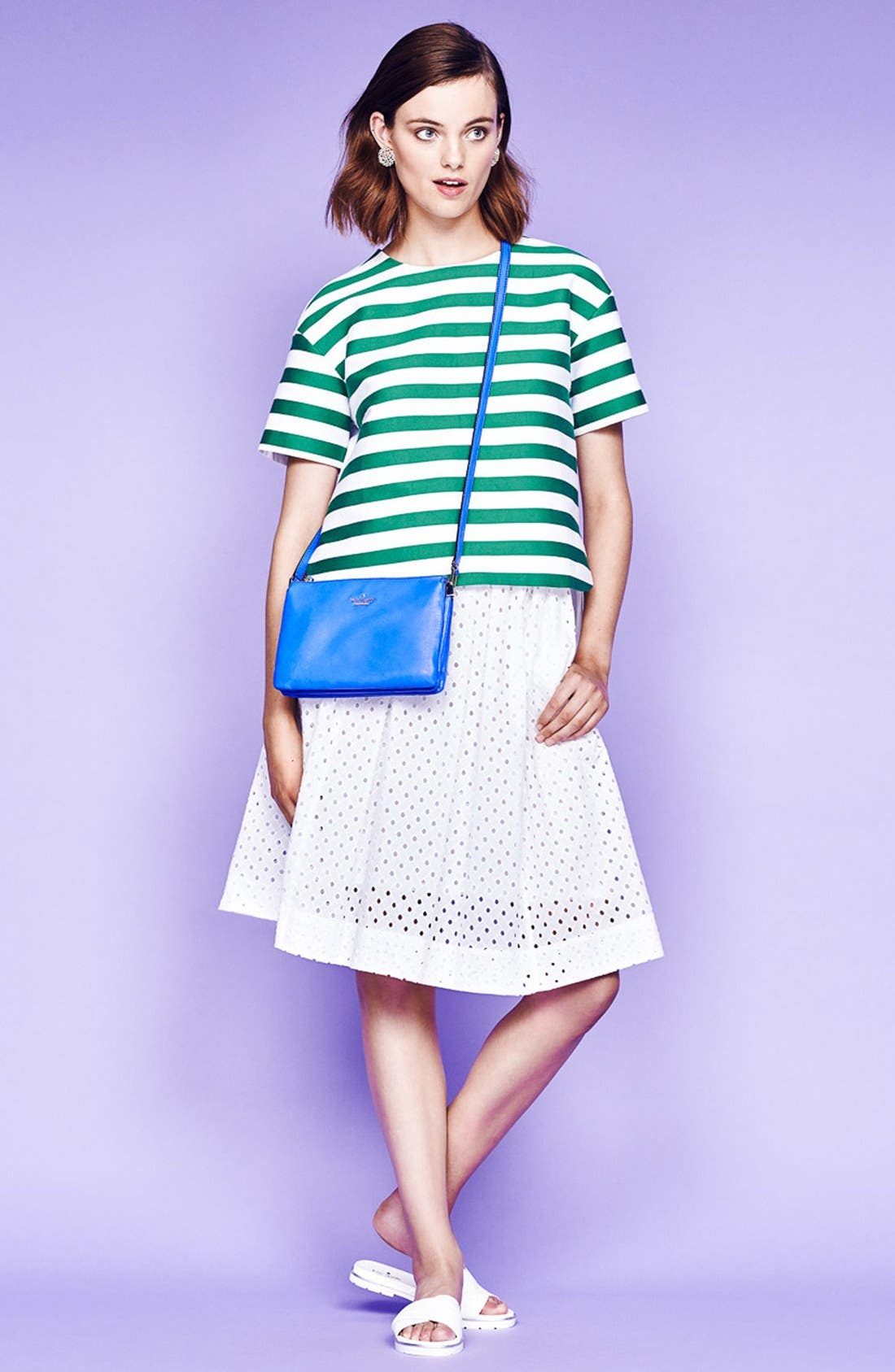 Alternate Image 5  - kate spade new york pleated eyelet a-line skirt