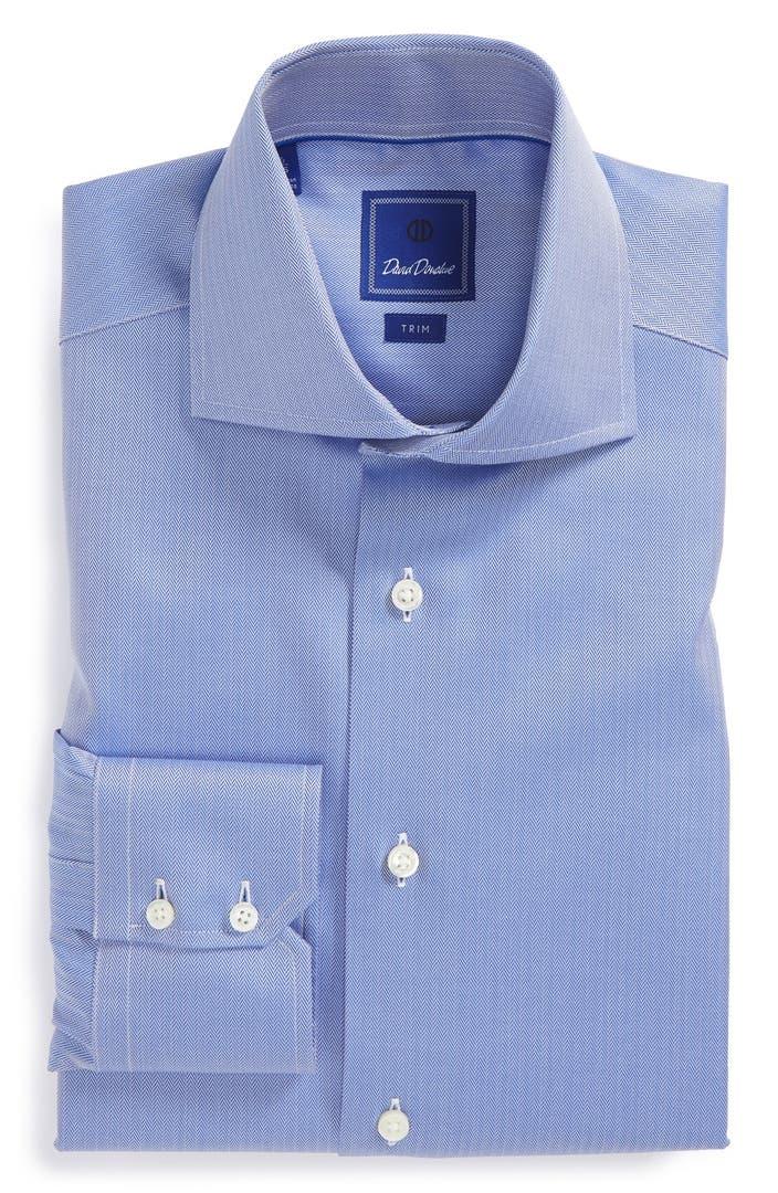 David Donahue Trim Fit Herringbone Dress Shirt Nordstrom