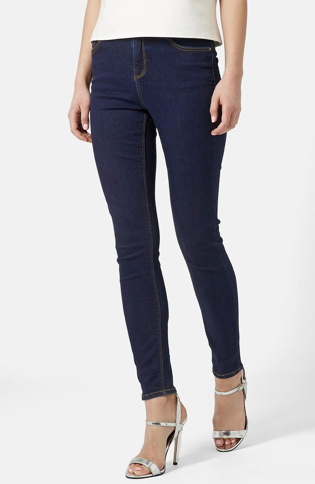 Alternate Image 1 Selected - Topshop Moto 'Jamie' Skinny Jeans (Mid Denim)