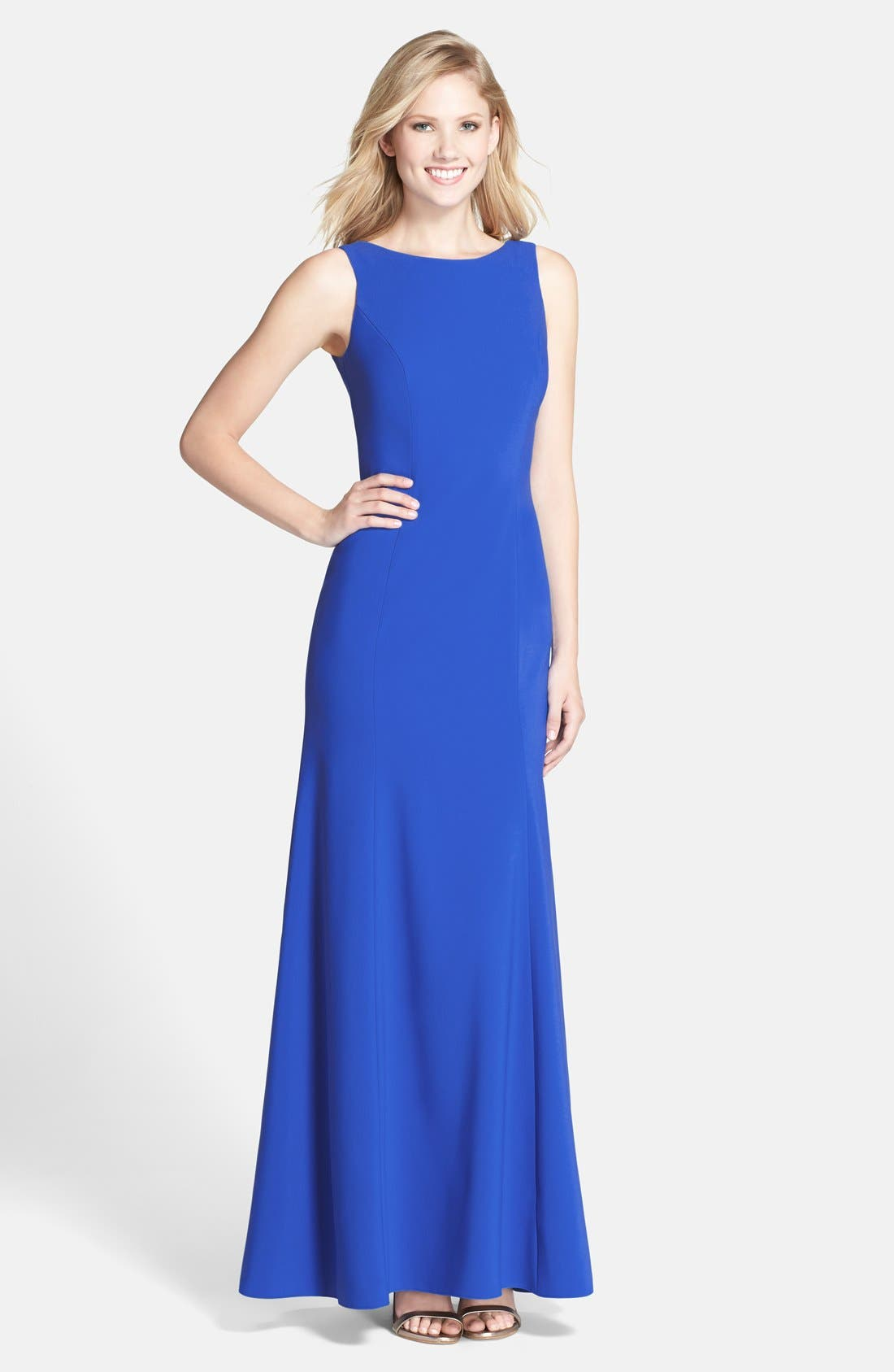 Alternate Image 1 Selected - Dessy Collection Crepe Trumpet Gown