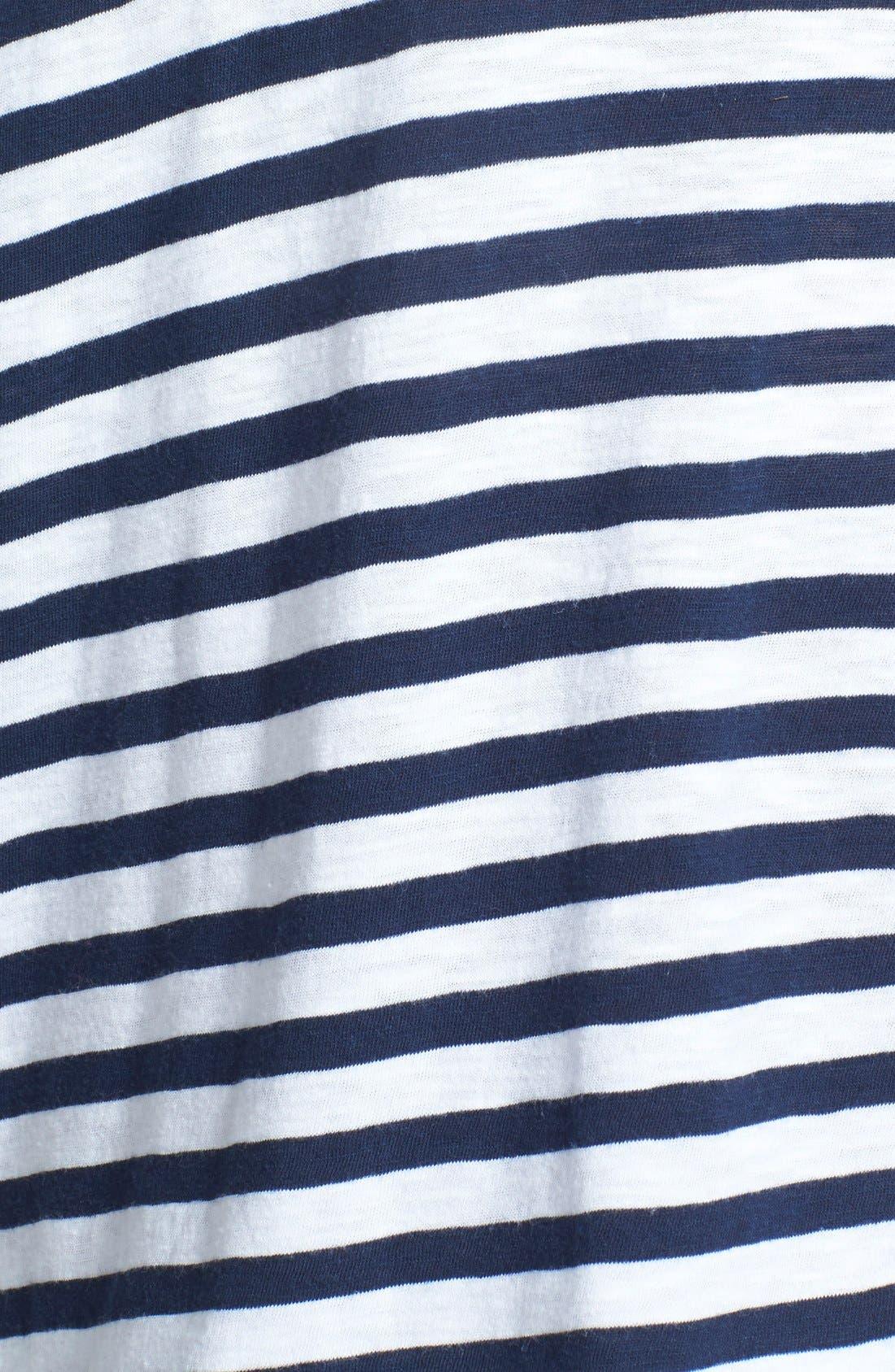 Alternate Image 3  - Sejour Screen Print Stripe Slub Tee (Plus Size)