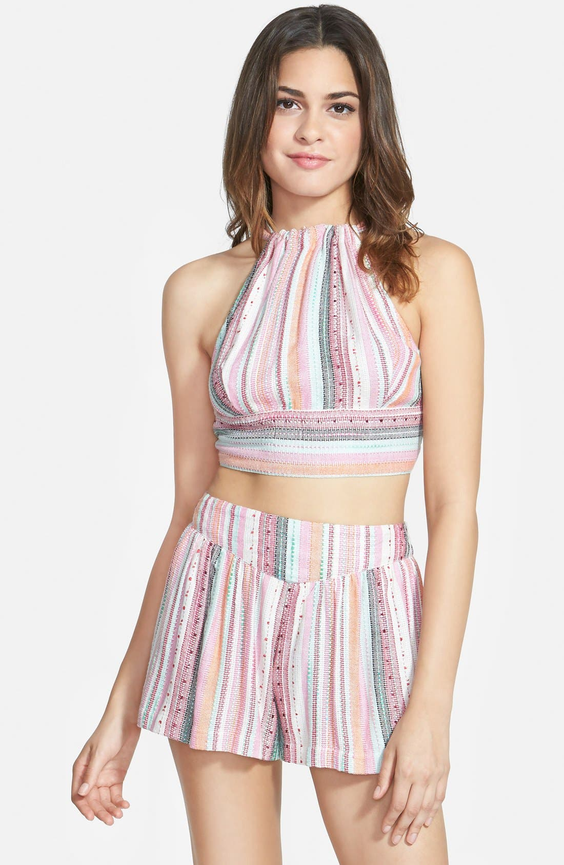 Alternate Image 1 Selected - Angie Crop Halter Top (Juniors)