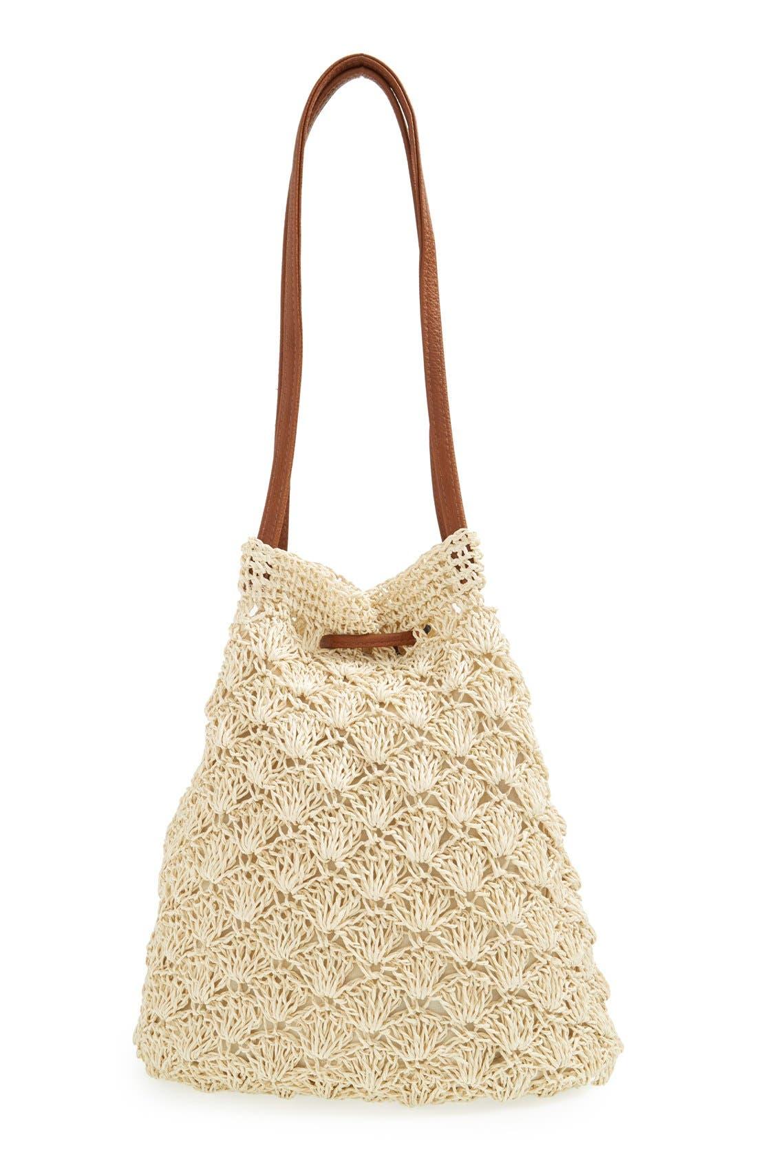 Alternate Image 4  - Street Level Crochet Straw Bucket Bag