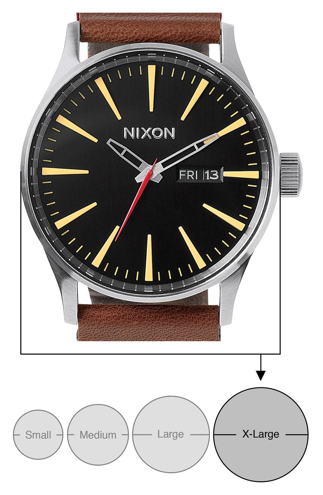 Alternate Image 5  - Nixon The Sentry Leather Strap Watch, 42mm