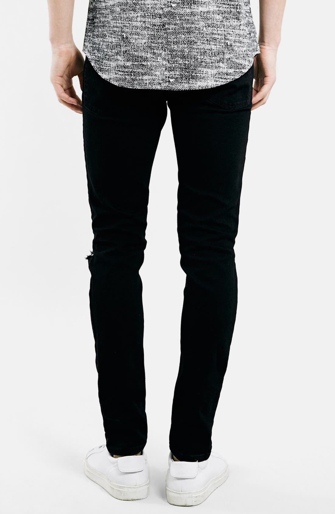 Alternate Image 3  - Topman Ripped Stretch Skinny Fit Jeans