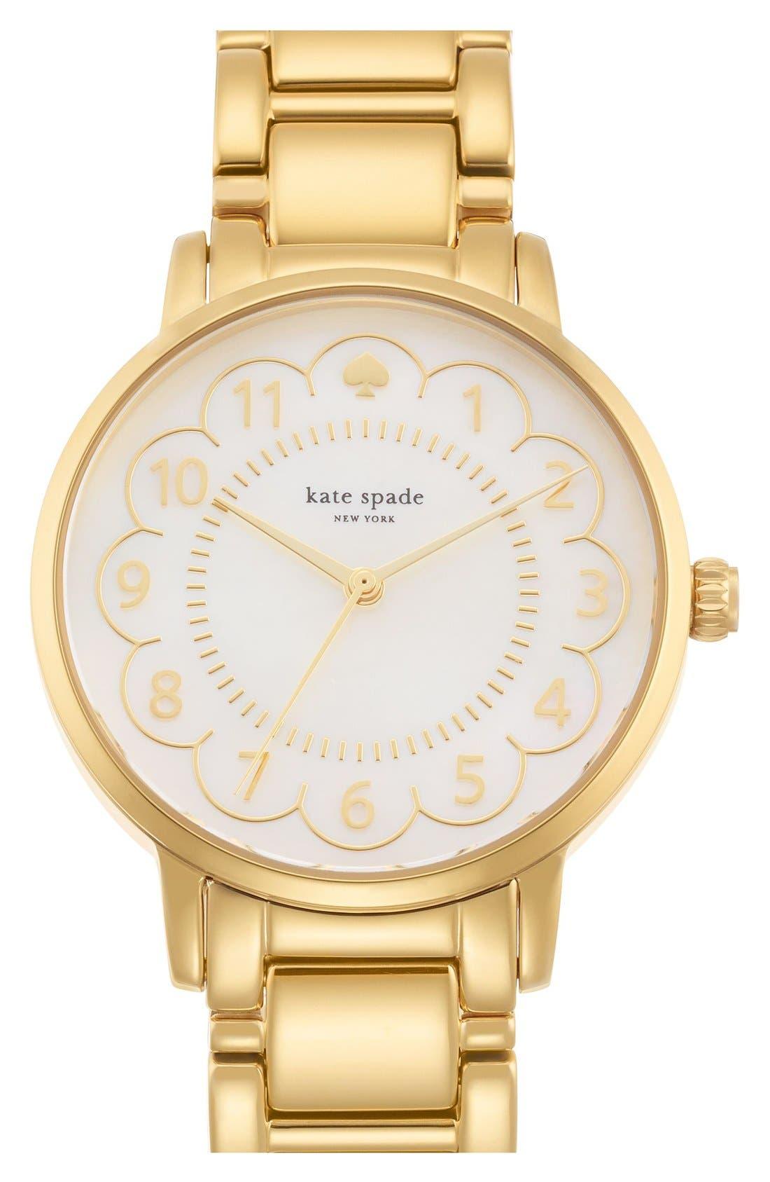 Main Image - kate spade new york 'gramercy' scalloped dial bracelet watch, 34mm