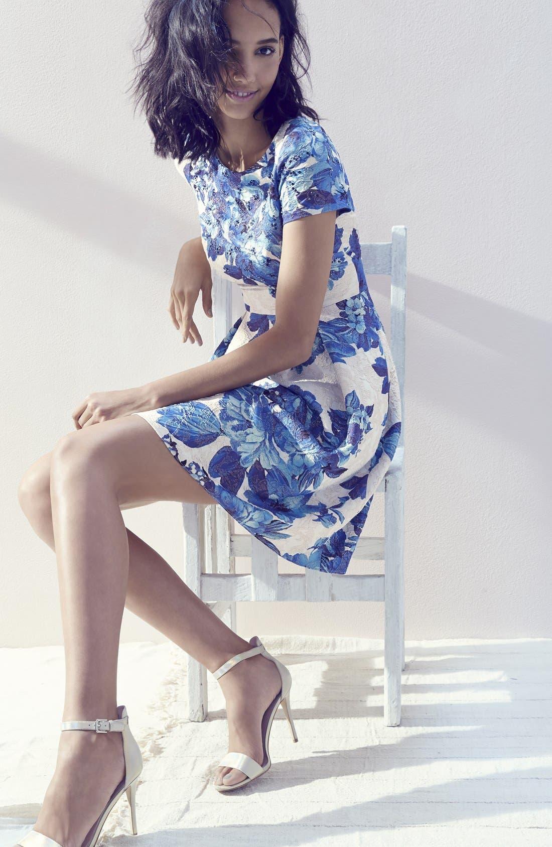 Alternate Image 6  - Adrianna Papell Floral Matelassé Fit & Flare Dress (Regular & Petite)