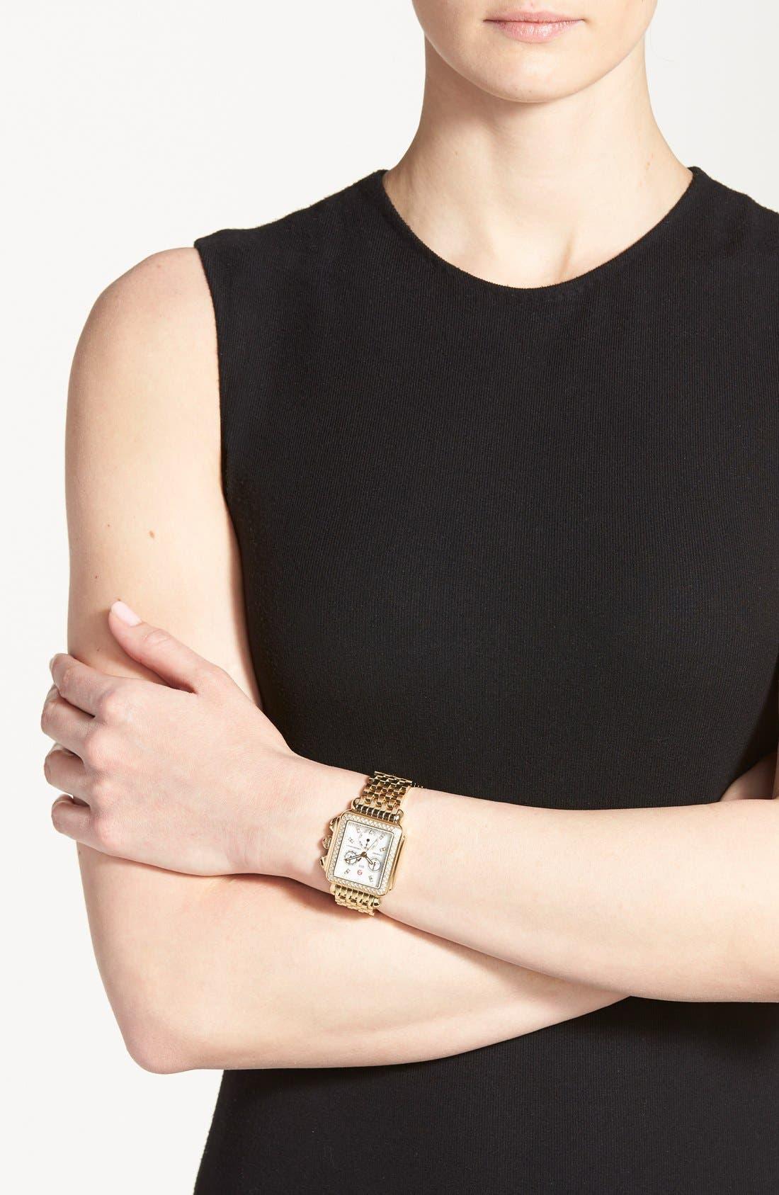Alternate Image 3  - MICHELE Deco Diamond Diamond Dial Gold Plated Watch Case, 33mm x 35mm