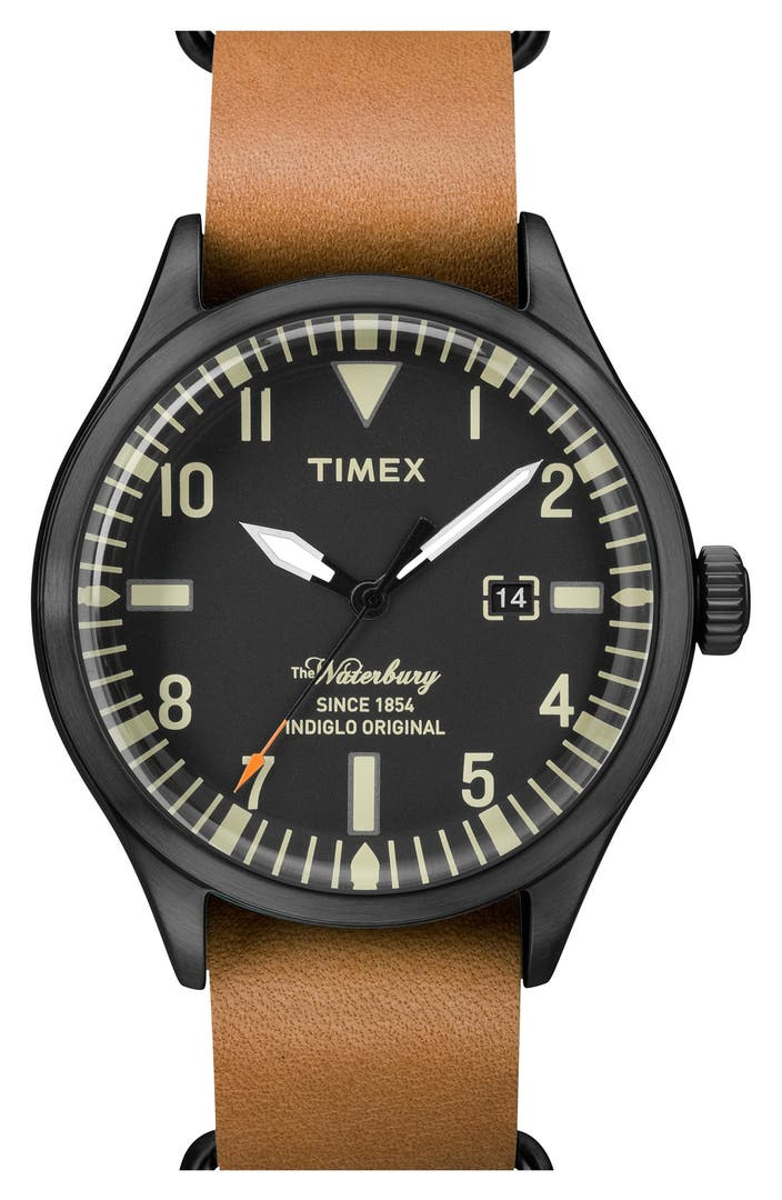 Timex waterbury leather strap watch 40mm nordstrom for Watches 40mm