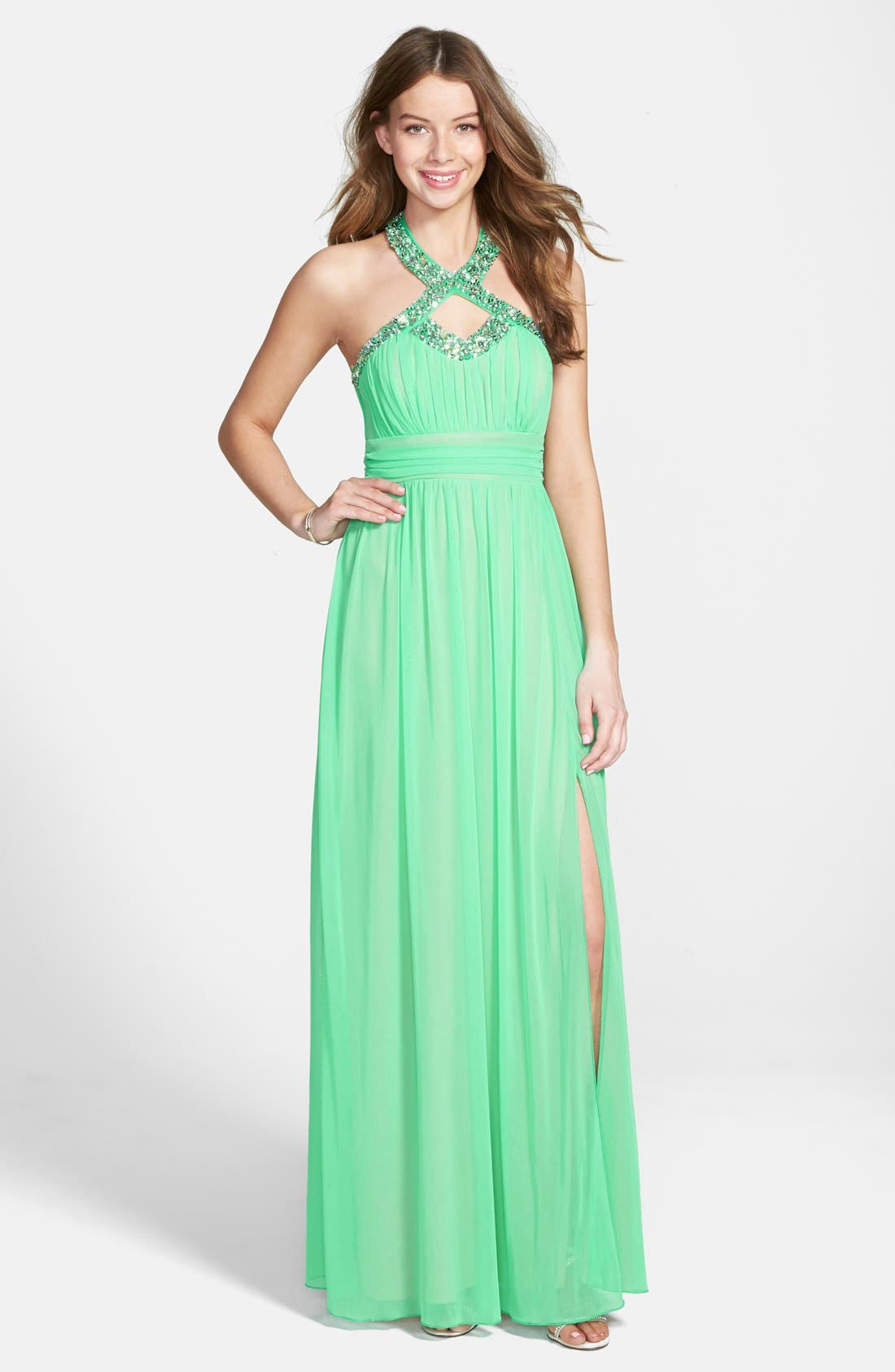 Alternate Image 1 Selected - Way-In 'Laura' Embellished Gown (Juniors)