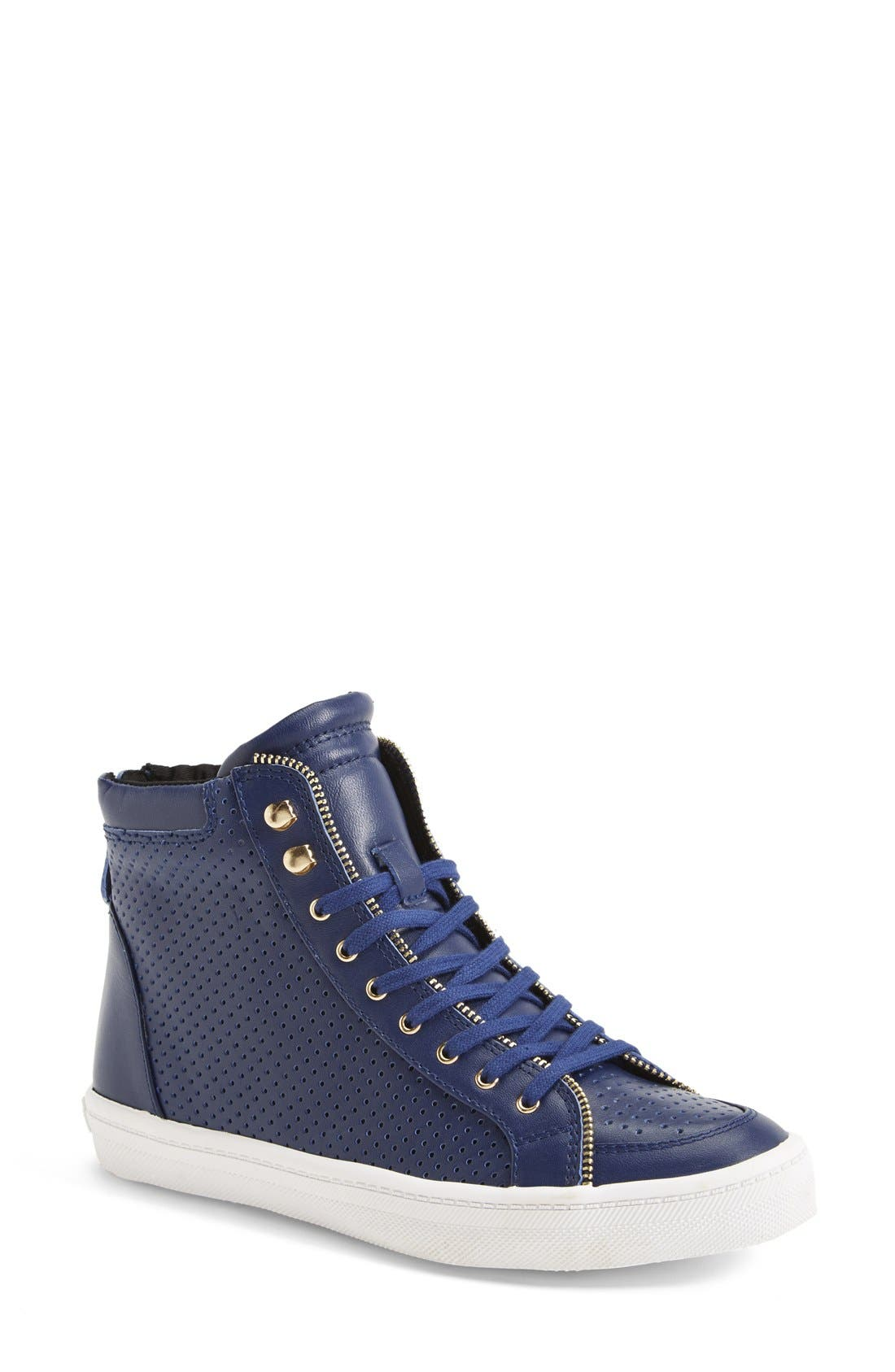 Alternate Image 1 Selected - Rebecca Minkoff 'Sandi' Perforated & Quilted Leather High Top Sneaker (Women)