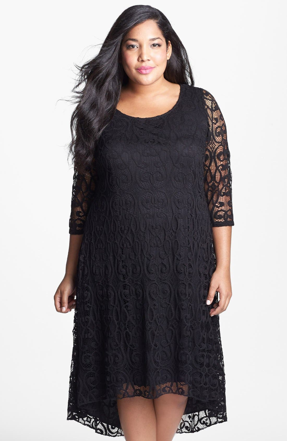 Alternate Image 1 Selected - Adrianna Papell Lace High/Low Dress (Plus Size)
