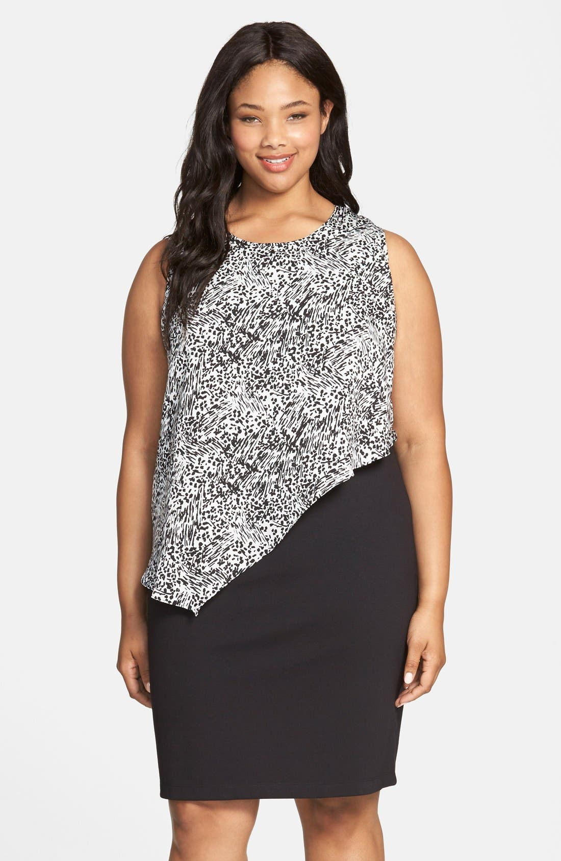 Alternate Image 1 Selected - DKNYC Animal Print Overlay Ponte Sheath Dress (Plus Size)