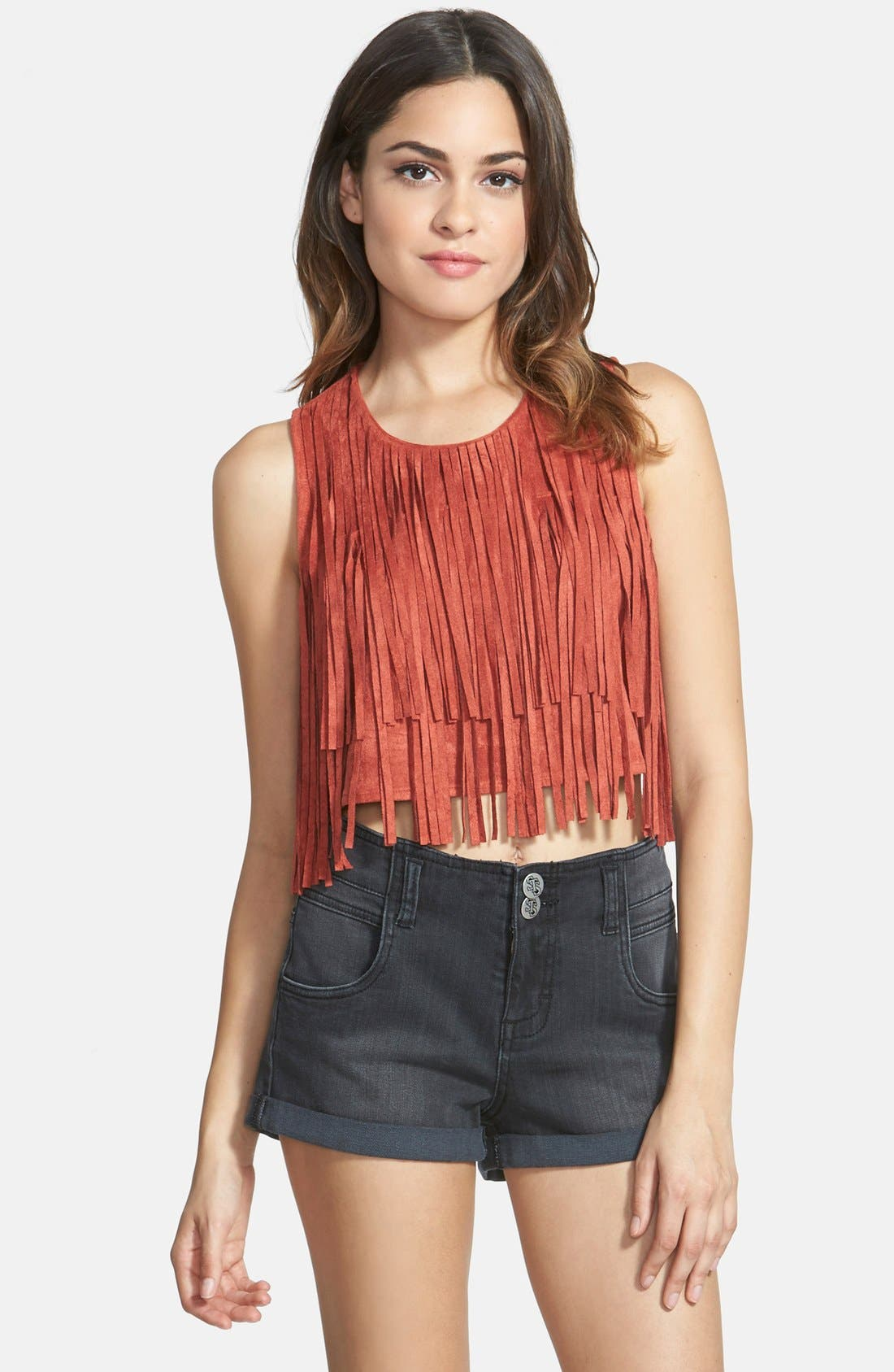 Alternate Image 1 Selected - Paper Crane Faux Suede Fringe Crop Tank (Juniors)