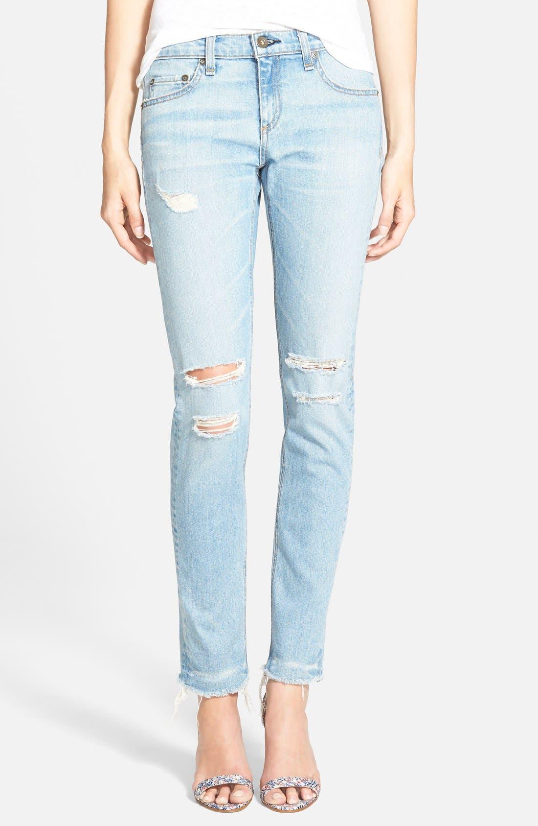 Alternate Image 1 Selected - rag & bone/JEAN 'Dre' Distressed Ankle Jeans (Abingdon)