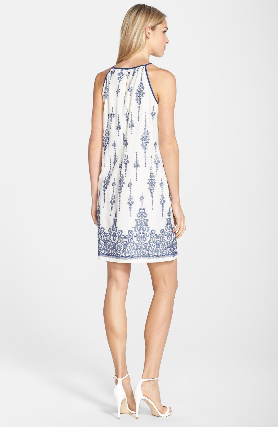 Alternate Image 2  - Taylor Dresses Embroidered Cotton Voile Shift Dress