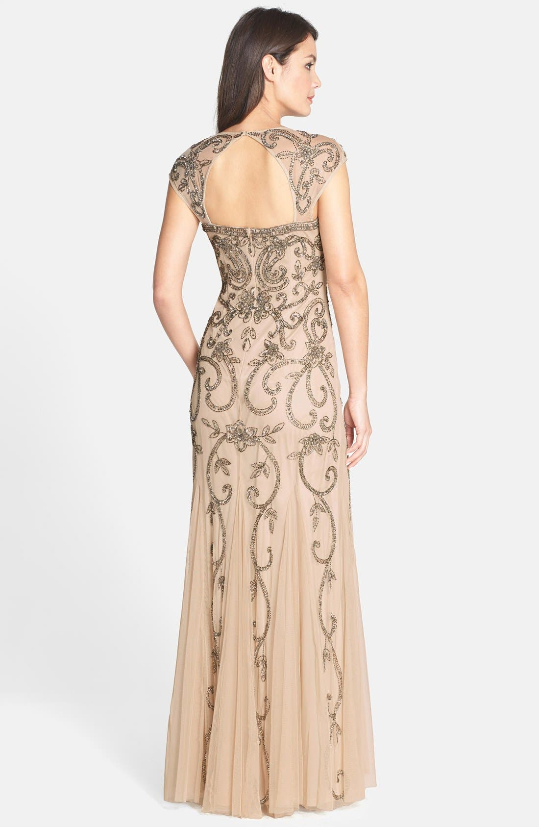 Alternate Image 2  - Adrianna Papell Beaded Cap Sleeve Trumpet Gown