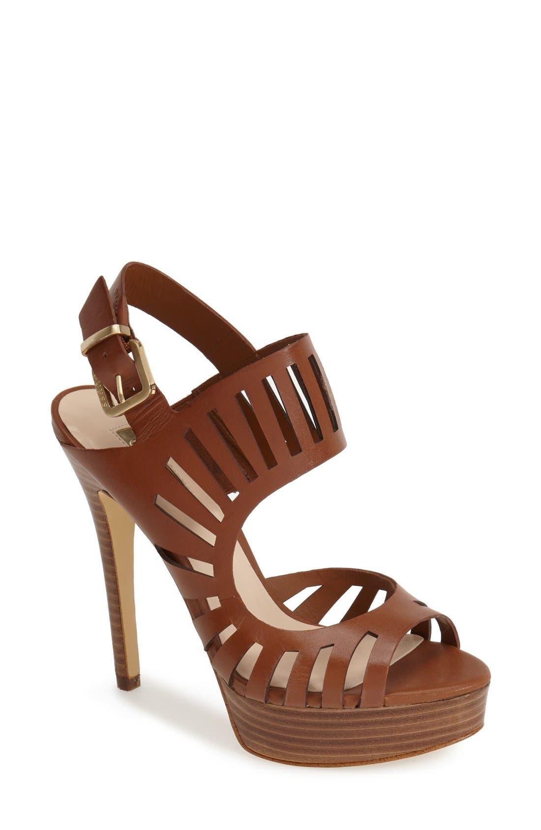 Alternate Image 1 Selected - GUESS 'Kabirra' Cutout Leather Platform Sandal (Women)