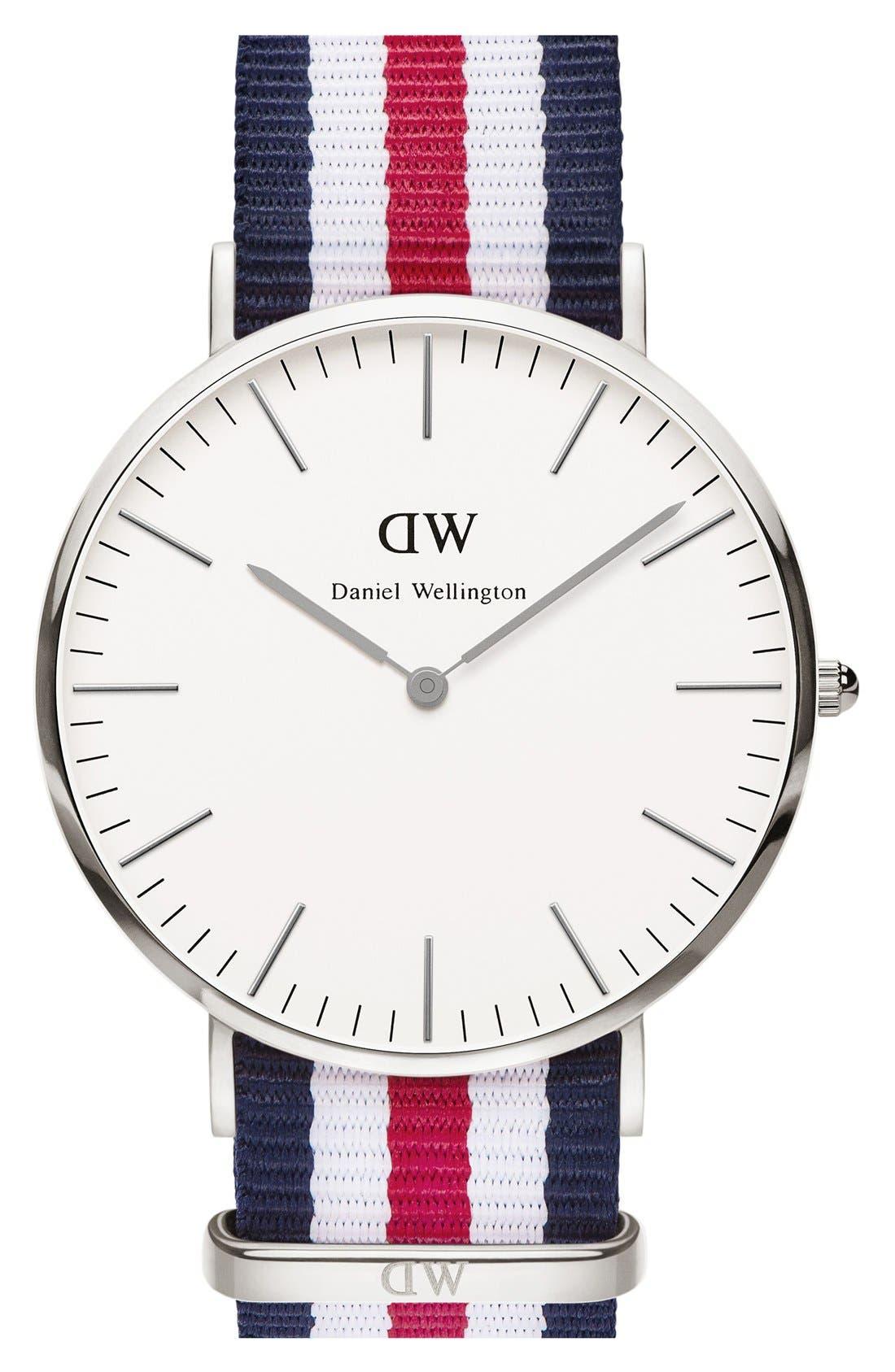Alternate Image 1 Selected - Daniel Wellington 'Classic Canterbury' NATO Strap Watch, 40mm