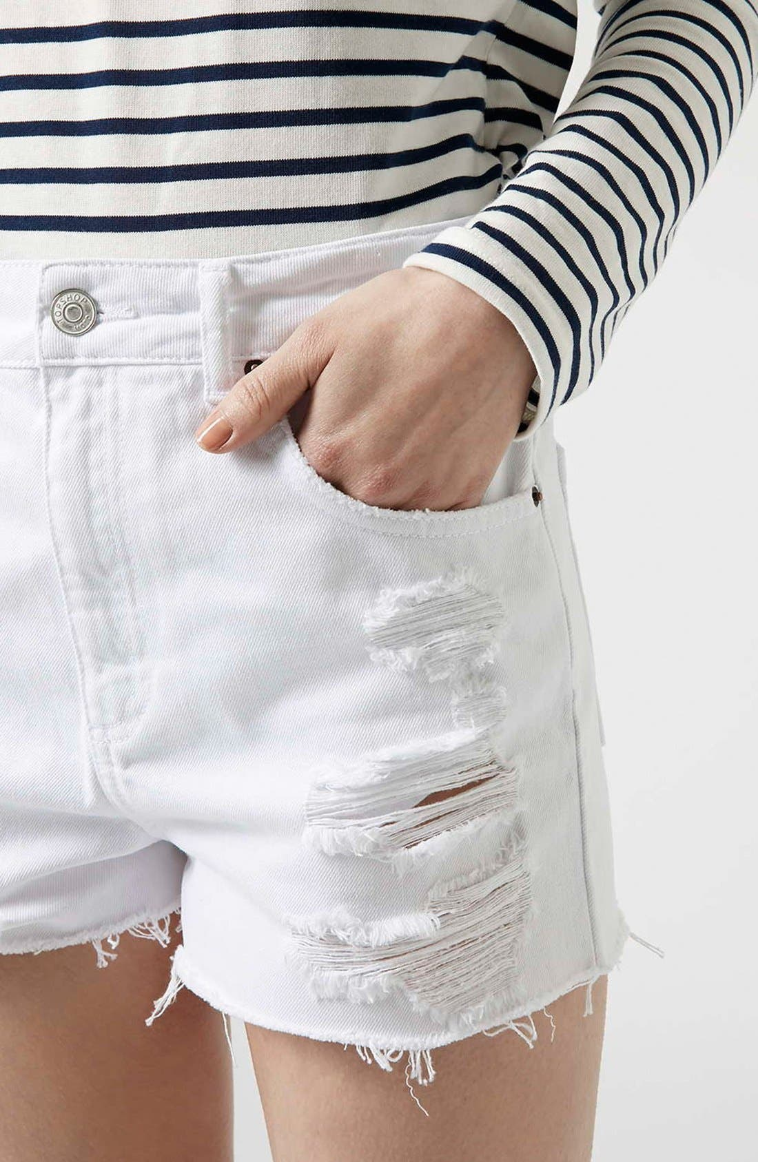 Alternate Image 4  - Topshop Moto White Denim Shorts