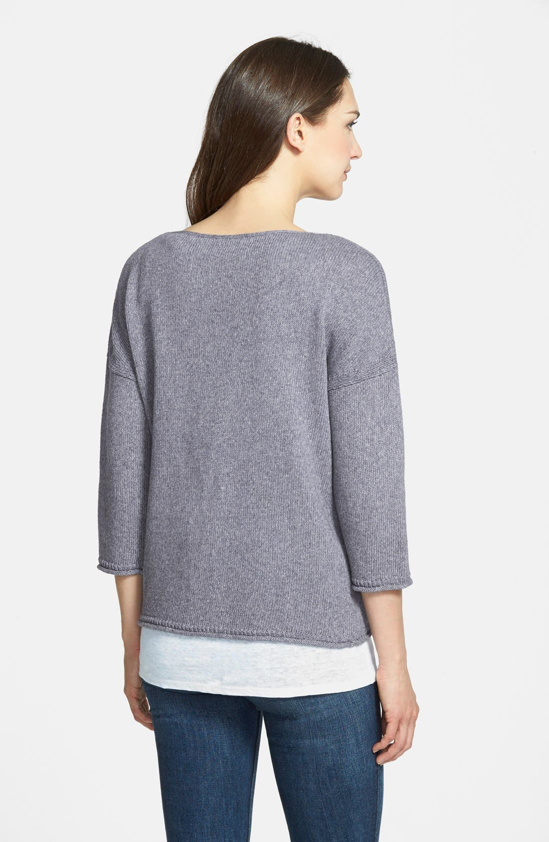 Alternate Image 2  - Nordstrom Collection 'Lapis' Bateau Neck Pullover