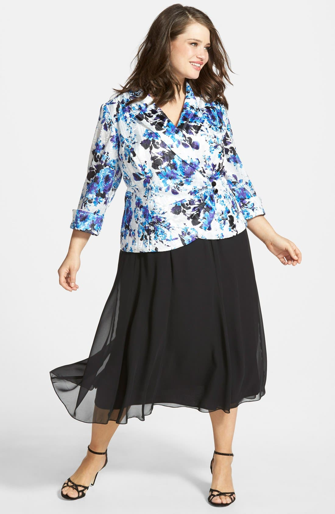 Alex Evenings Print Satin Blosue & Chiffon Skirt (Plus Size)