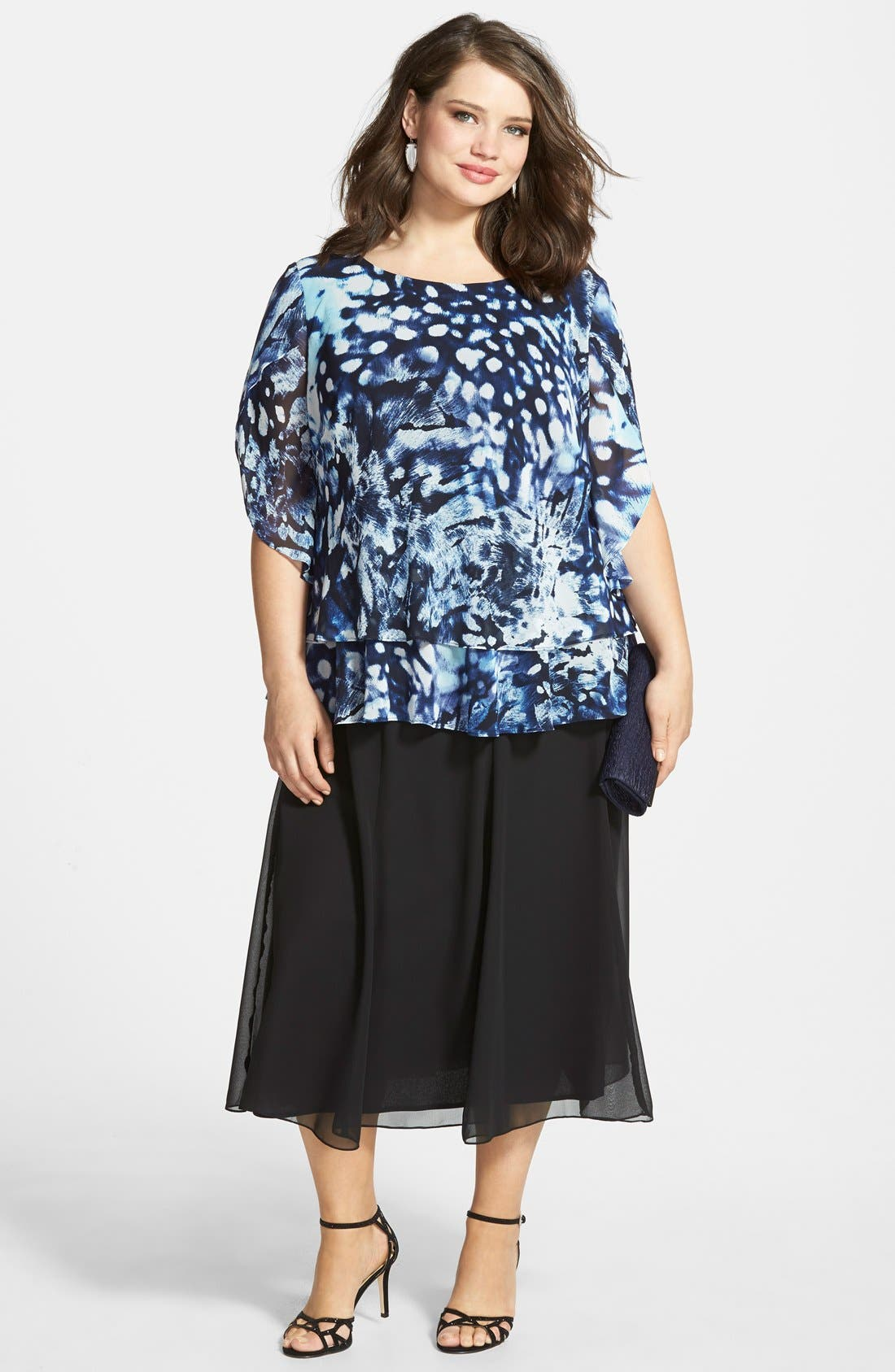 Alex Evenings Print Chiffon Blouse & Skirt (Plus Size)