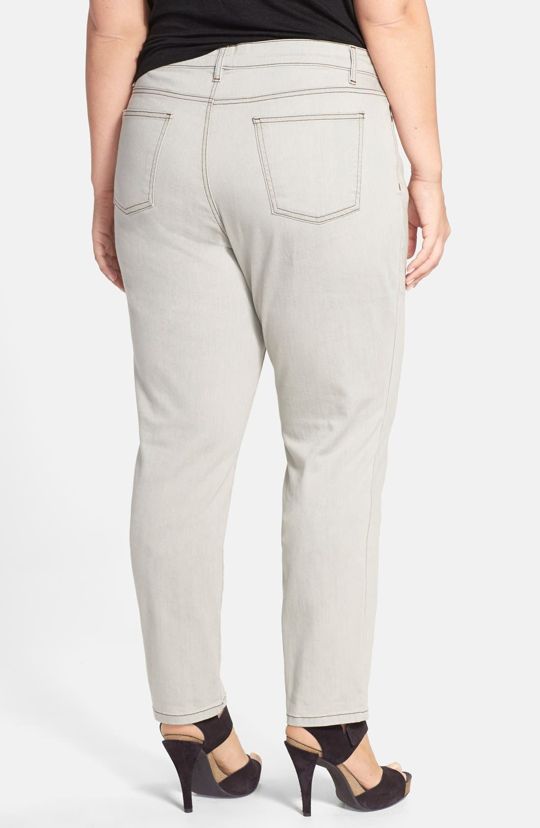 Alternate Image 2  - Eileen Fisher Slim Ankle Jeans (Sunbleached Grey) (Plus Size)