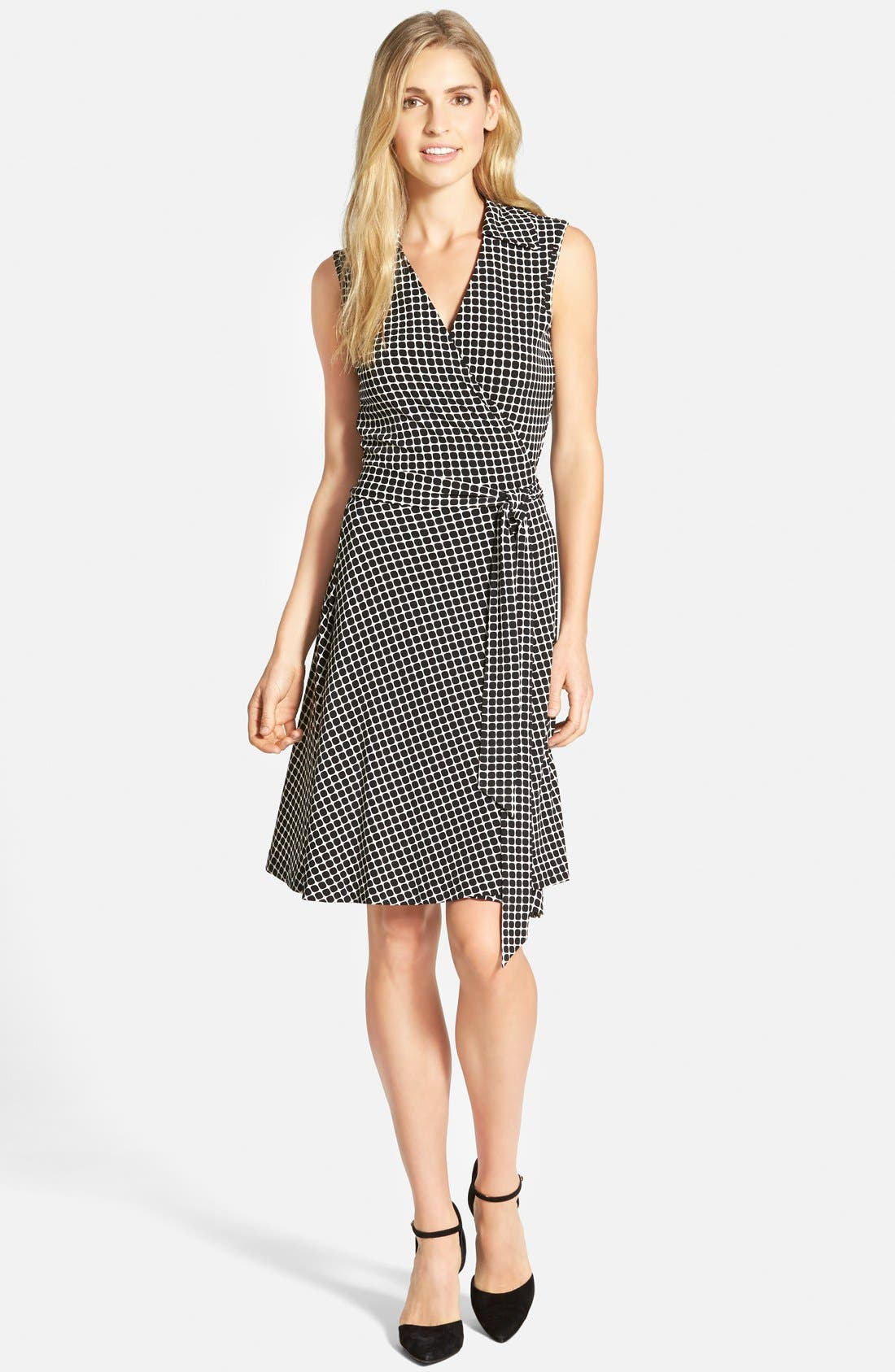 Main Image - Vince Camuto 'Graphic Boxes' Sleeveless Wrap Dress (Regular & Petite) (Nordstrom Online Exclusive)