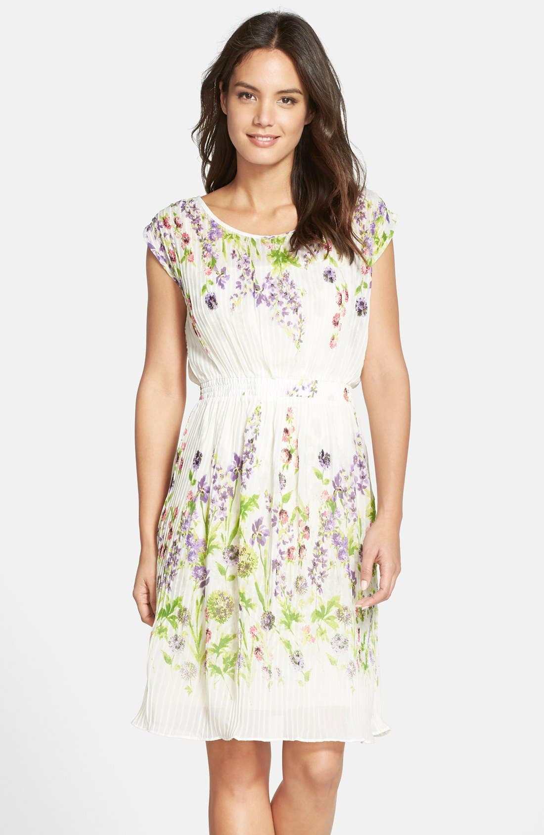 Alternate Image 1 Selected - Gabby Skye Floral Print Chiffon Pleated Dress