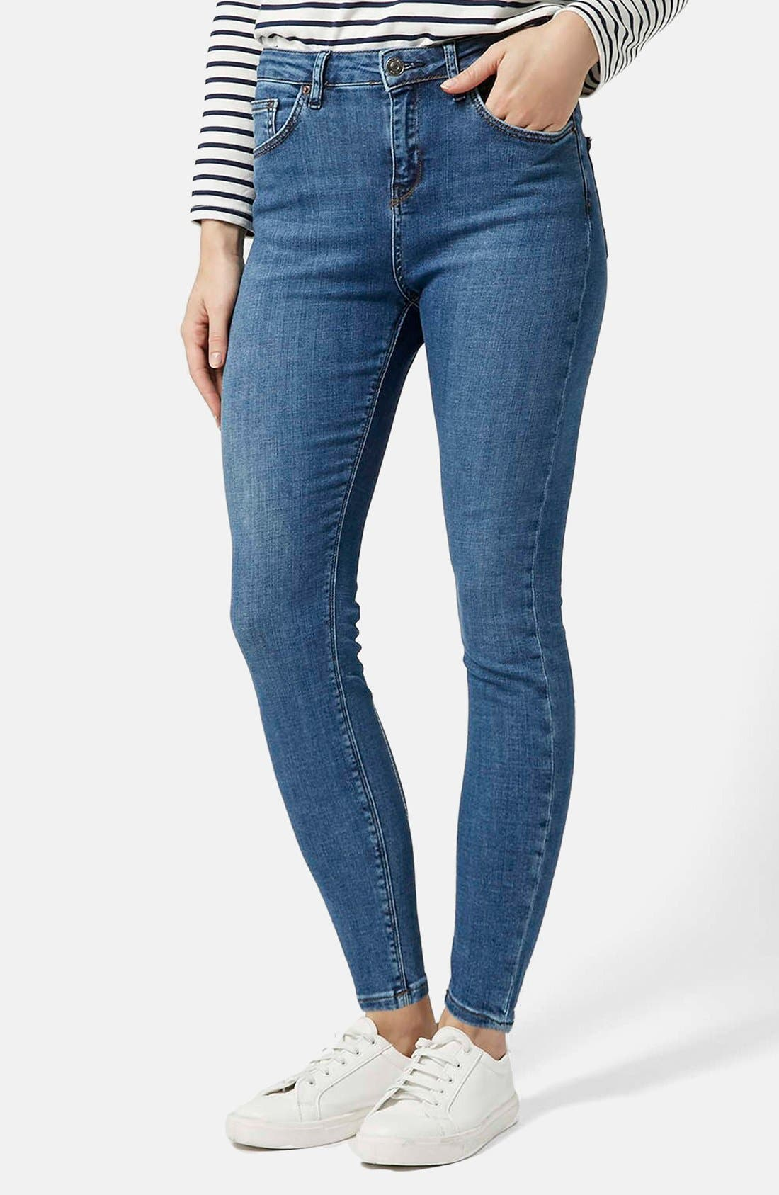 Main Image - Topshop Moto 'Cain' High Rise Ankle Jeans (Blue) (Short)