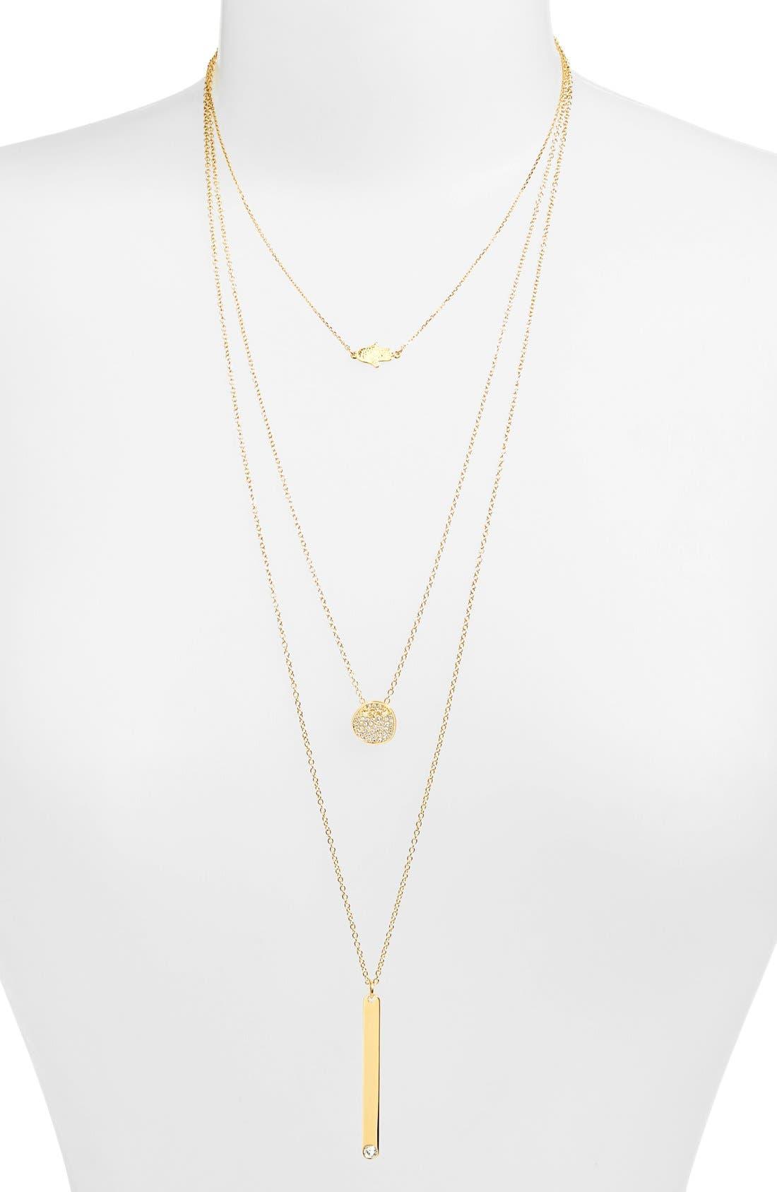 Main Image - BaubleBar 'Modern Metallics' 14k-Gold Plate Layered Necklace (Set of 3) (Nordstrom Exclusive)