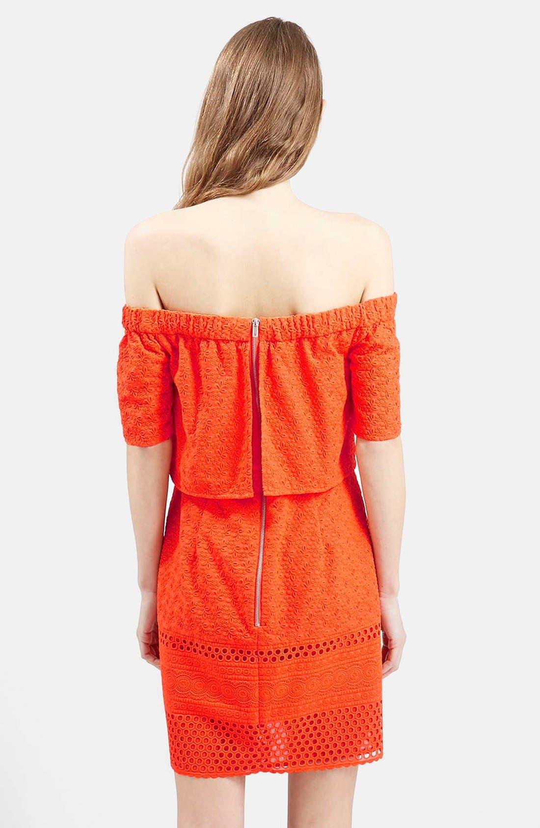 Alternate Image 2  - Topshop Embroidered Off the Shoulder Dress