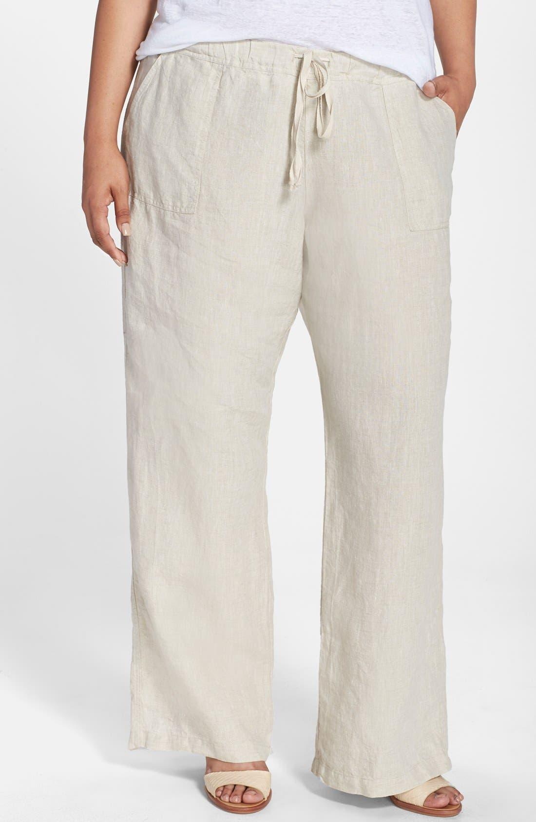 Main Image - Allen Allen Drawstring Linen Pants (Plus Size)