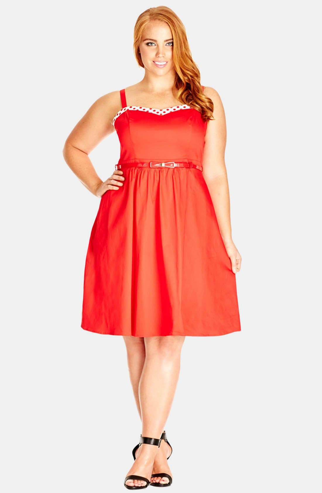 Alternate Image 1 Selected - City Chic 'Sweetheart' Fit & Flare Dress (Plus Size)