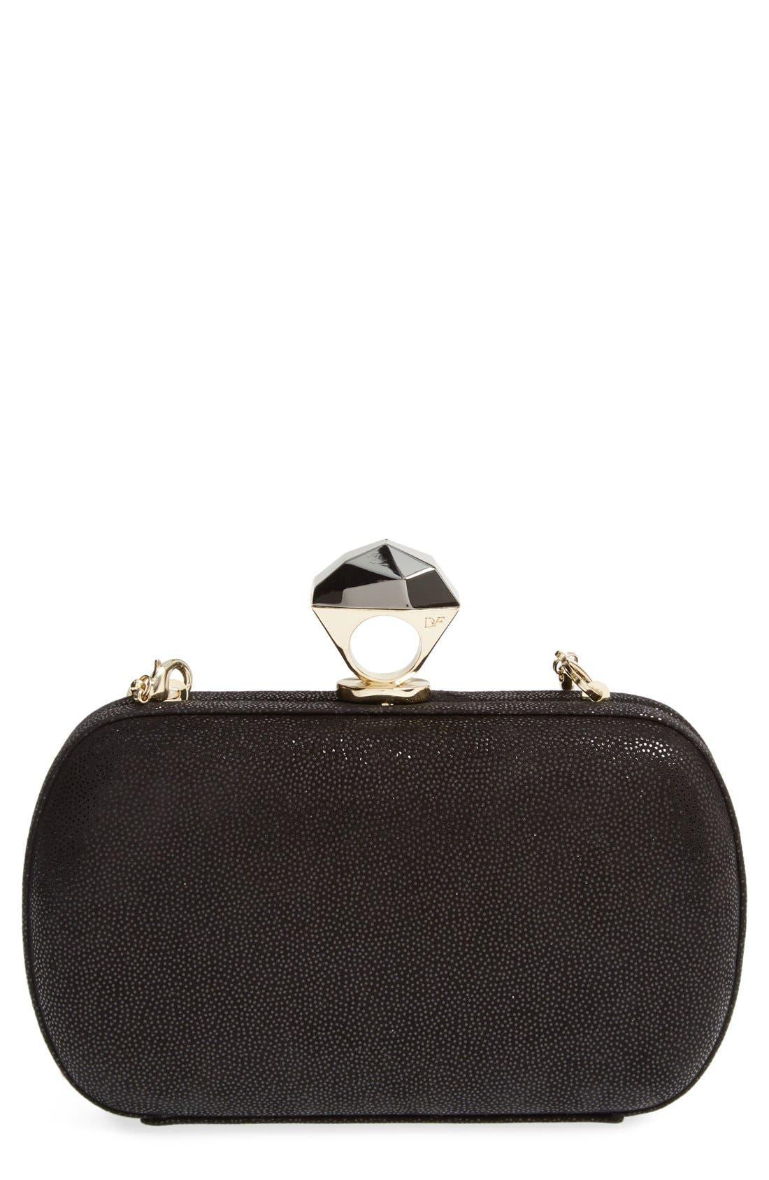Alternate Image 1 Selected - Diane von Furstenberg 'Powerstone Sparkle Caviar' Leather Minaudiere