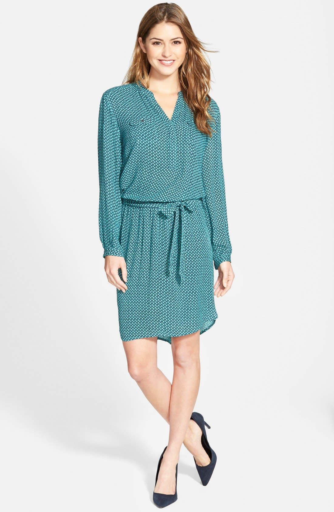Alternate Image 1 Selected - Caslon® Print Split Neck Shirtdress (Regular & Petite)