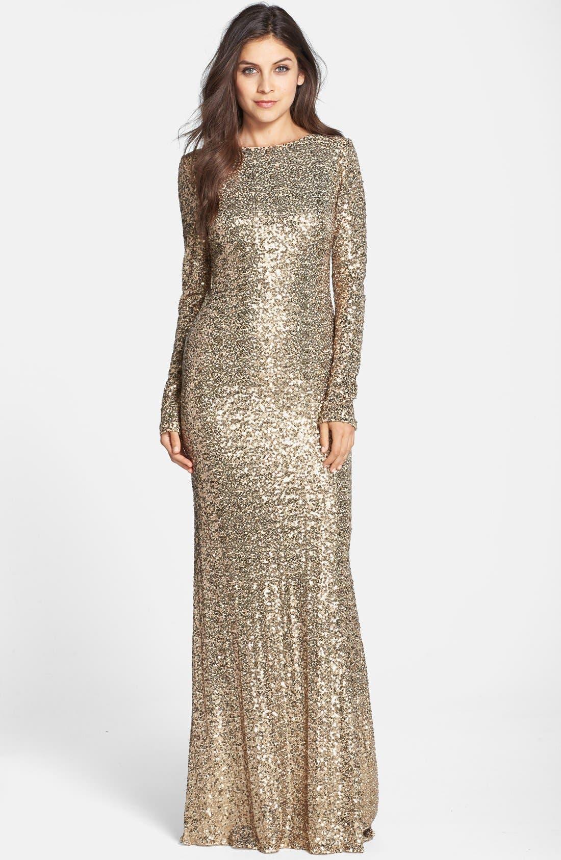 Alternate Image 1 Selected - Badgley Mischka Sequin Drape Back Gown