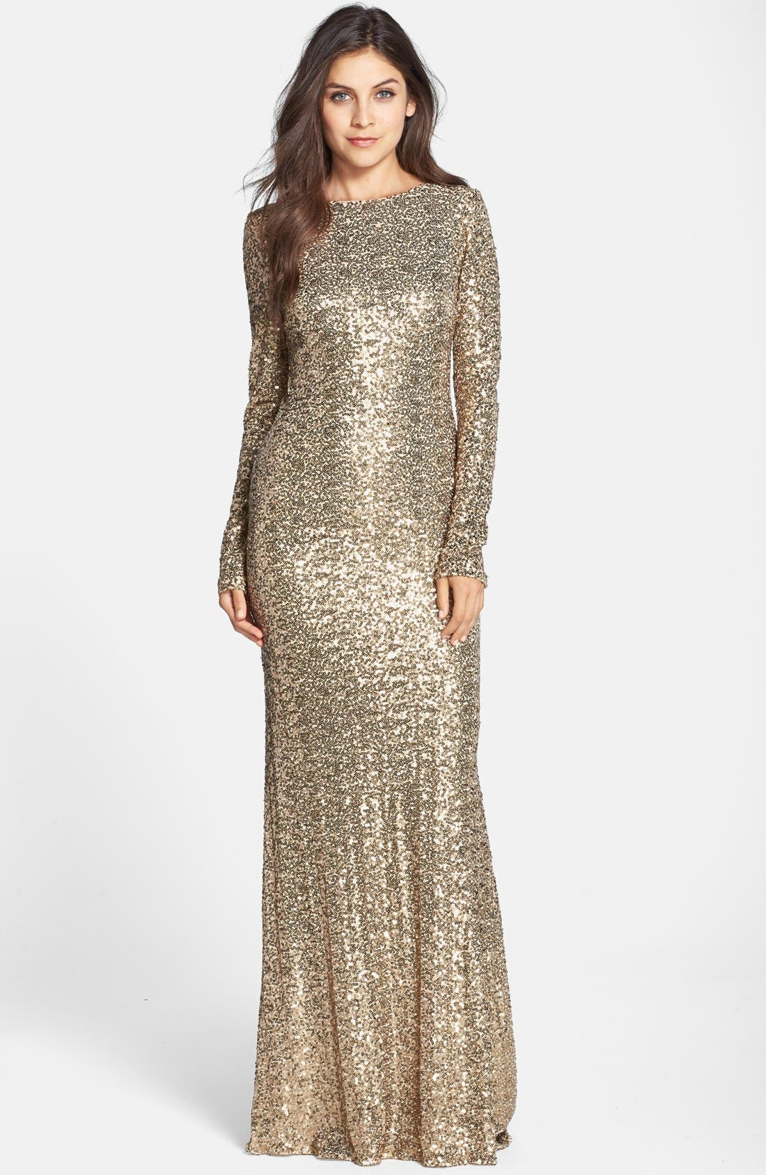 Main Image - Badgley Mischka Sequin Drape Back Gown