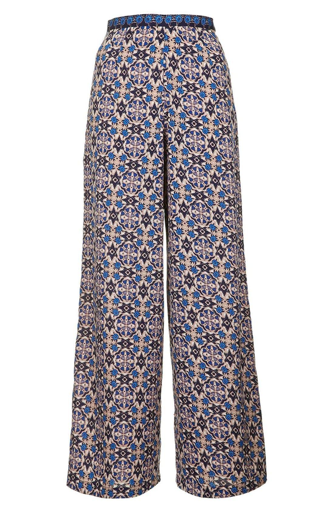 Alternate Image 4  - Topshop 'Troubadour' Tile Print Wide Leg Trousers