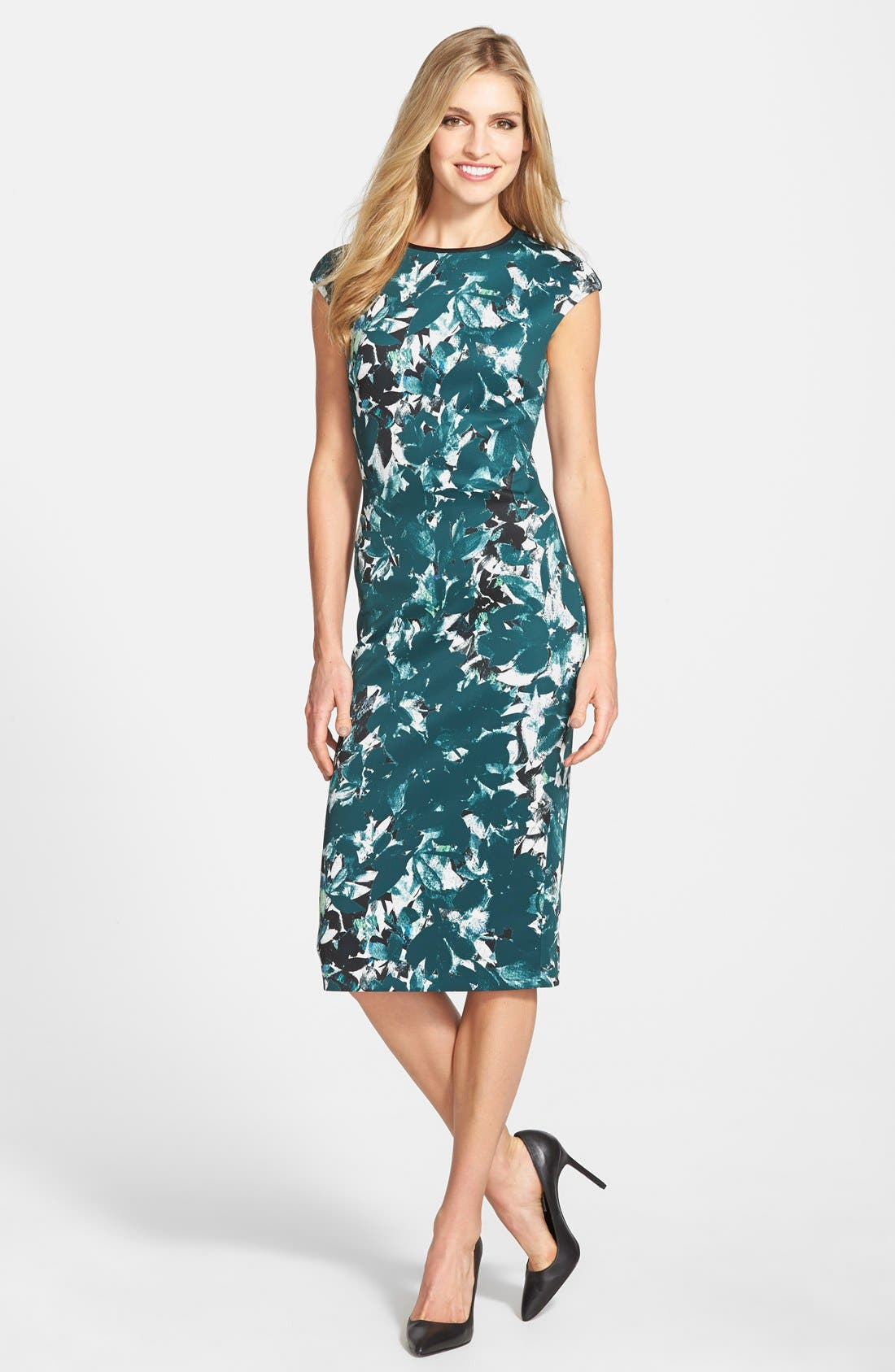 Alternate Image 1 Selected - Maggy London 'Shadow Branch' Print Scuba Midi Dress (Regular & Petite)